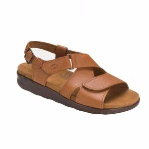 SAS Huggy Caramel Tan Leather Comfort Sandals 10